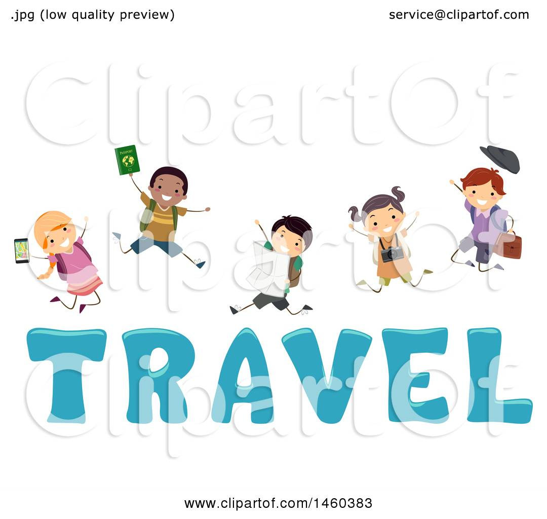 Clipart Of A Group Children Jumping Over The Word Travel