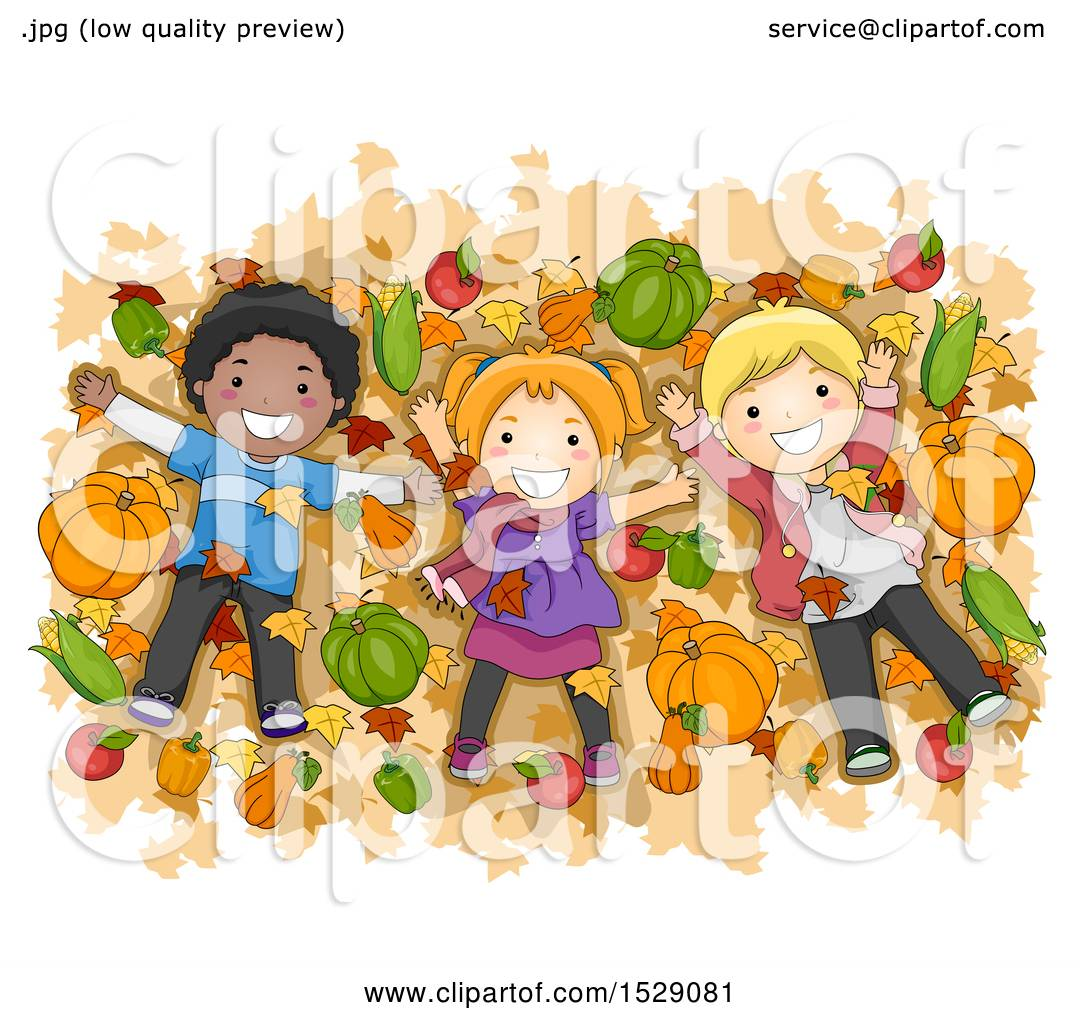 Clipart of a Group of Children Lying on Autumn Leaves with ...