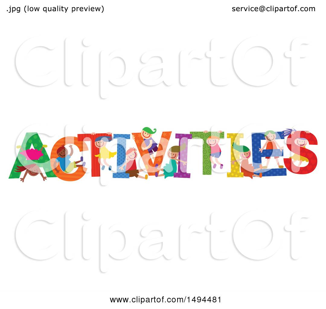 Clip Art Word Games : Clipart of a group children playing in the colorful