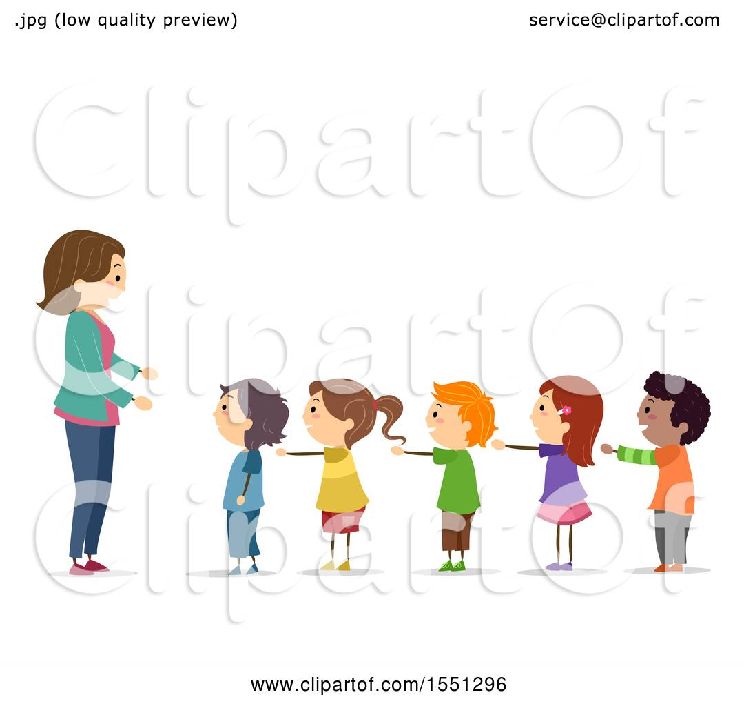 Clipart of a Group of Children Standing in Line with Their ...