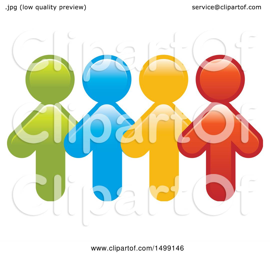 Clipart of a Group of Colorful Arrow People - Royalty Free