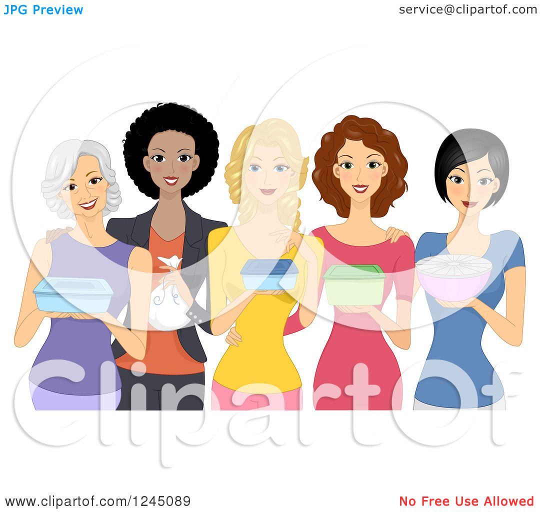 Clipart Of A Group Of Diverse Women Carrying Food Dishes