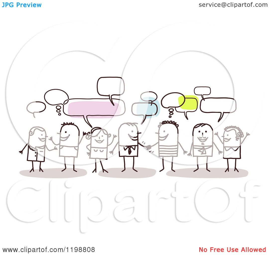clipart of a group of friendly stick people networking and