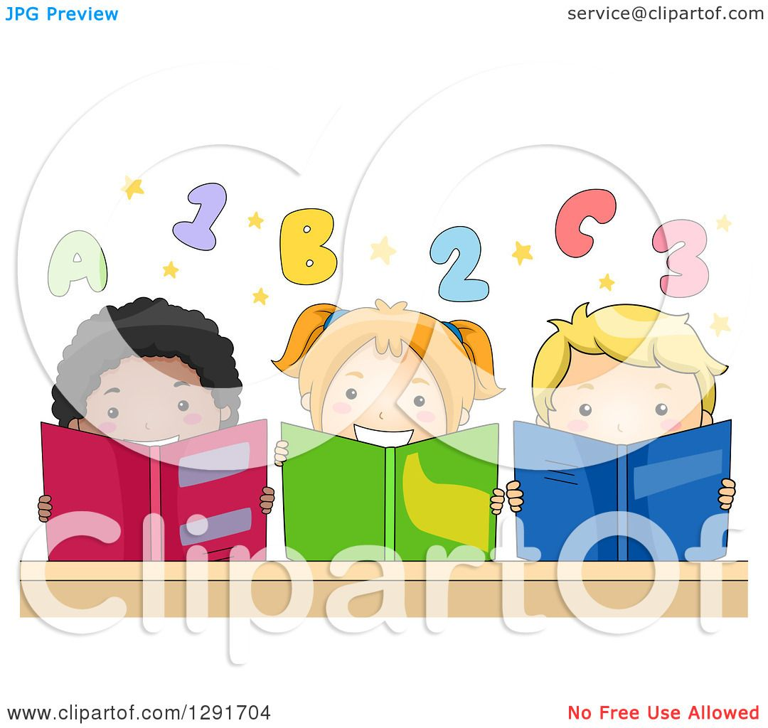 clipart of a group of happy children reading books under numbers and