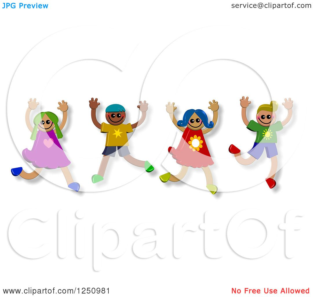 Clipart of a group of happy diverse children jumping royalty free