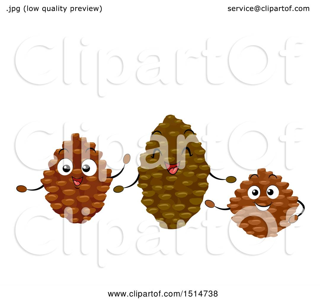 Clipart Of A Group Of Happy Pine Cone Characters Royalty Free