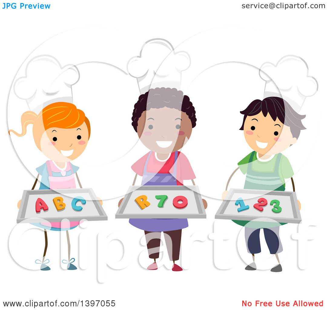 Clipart Of A Group Of Home Economics Students Wearing Chef Hats And Holding  Number And Letter Cookies   Royalty Free Vector Illustration By BNP Design  ...