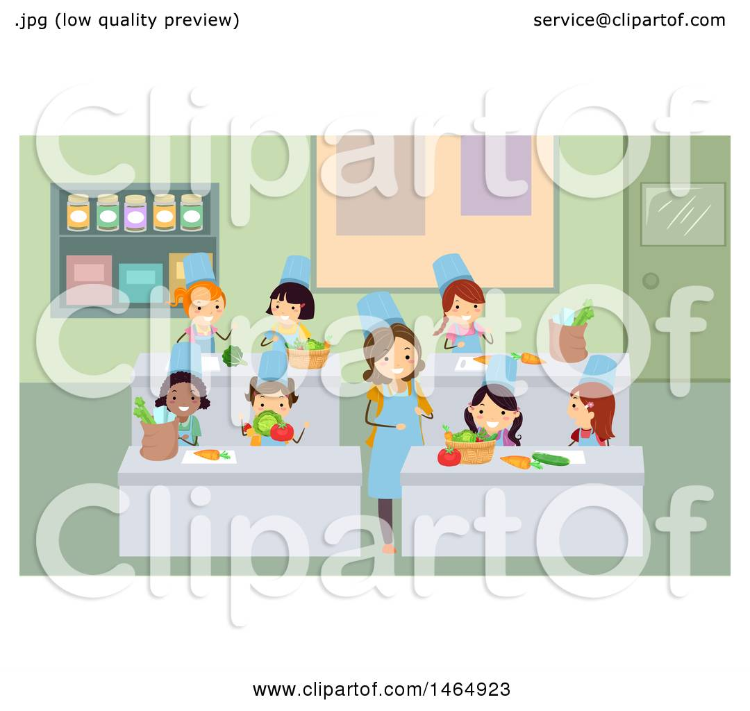 Clipart of a Group of School Children and Home Economics Teacher ...