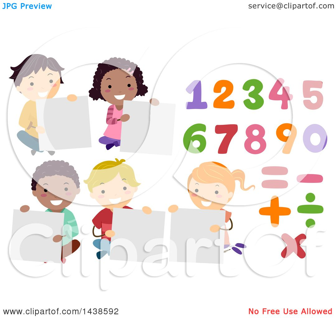 Clipart of a group of school children holding blank signs with clipart of a group of school children holding blank signs with numbers and math symbols royalty free vector illustration by bnp design studio buycottarizona Image collections
