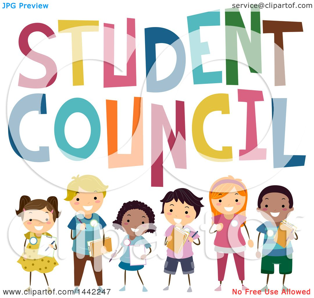 clipart of a group of school children under student council text rh clipartof com student council clipart Student Clip Art