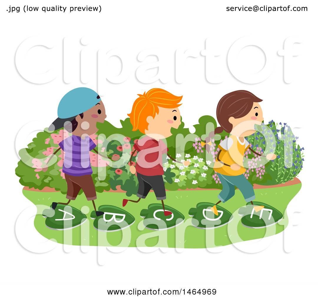 Clipart Of A Group Of School Children Walking On Alphabet