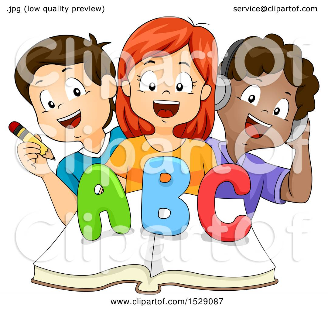 clipart of a group of school children writing, reading and listening
