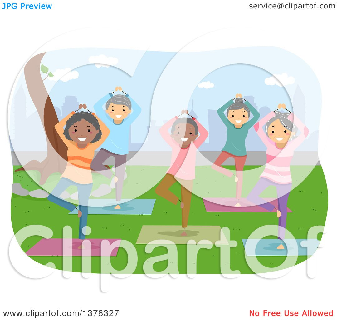 Clipart Of A Group Of Senior Citizens Doing Yoga In A