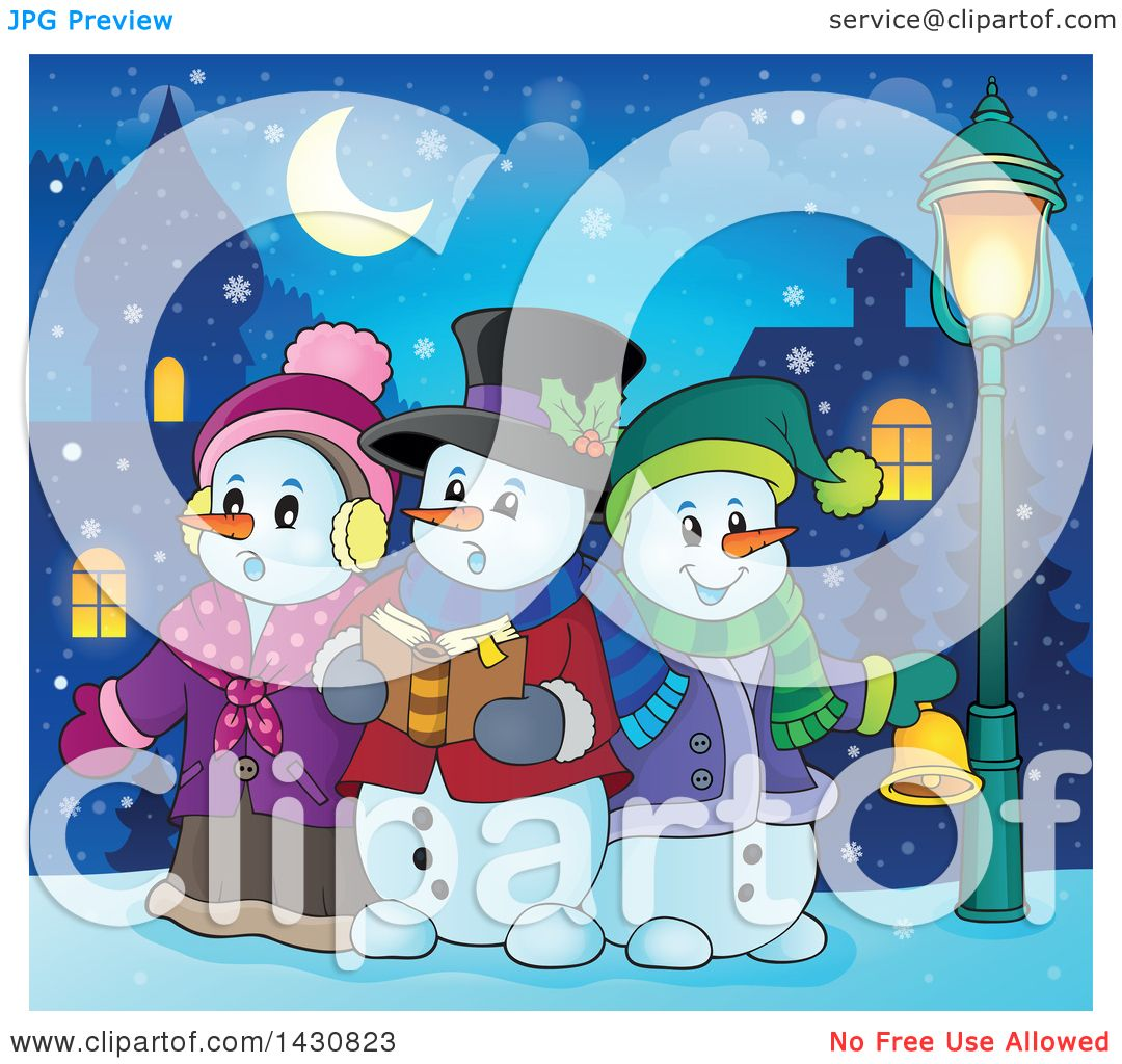 clipart of a group of snowmen singing christmas carols in a