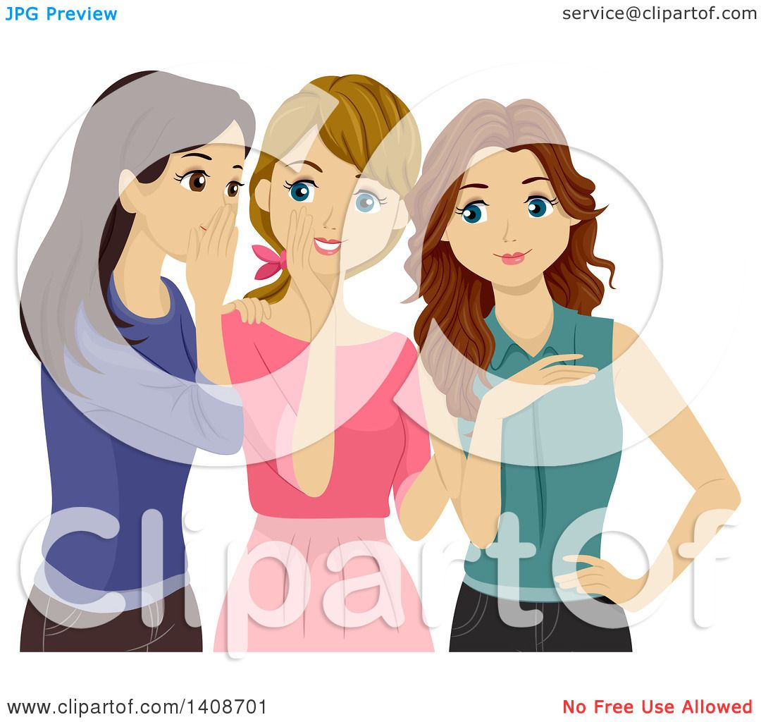 Clipart Of A Group Of Teen Girls Gossiping Royalty Free