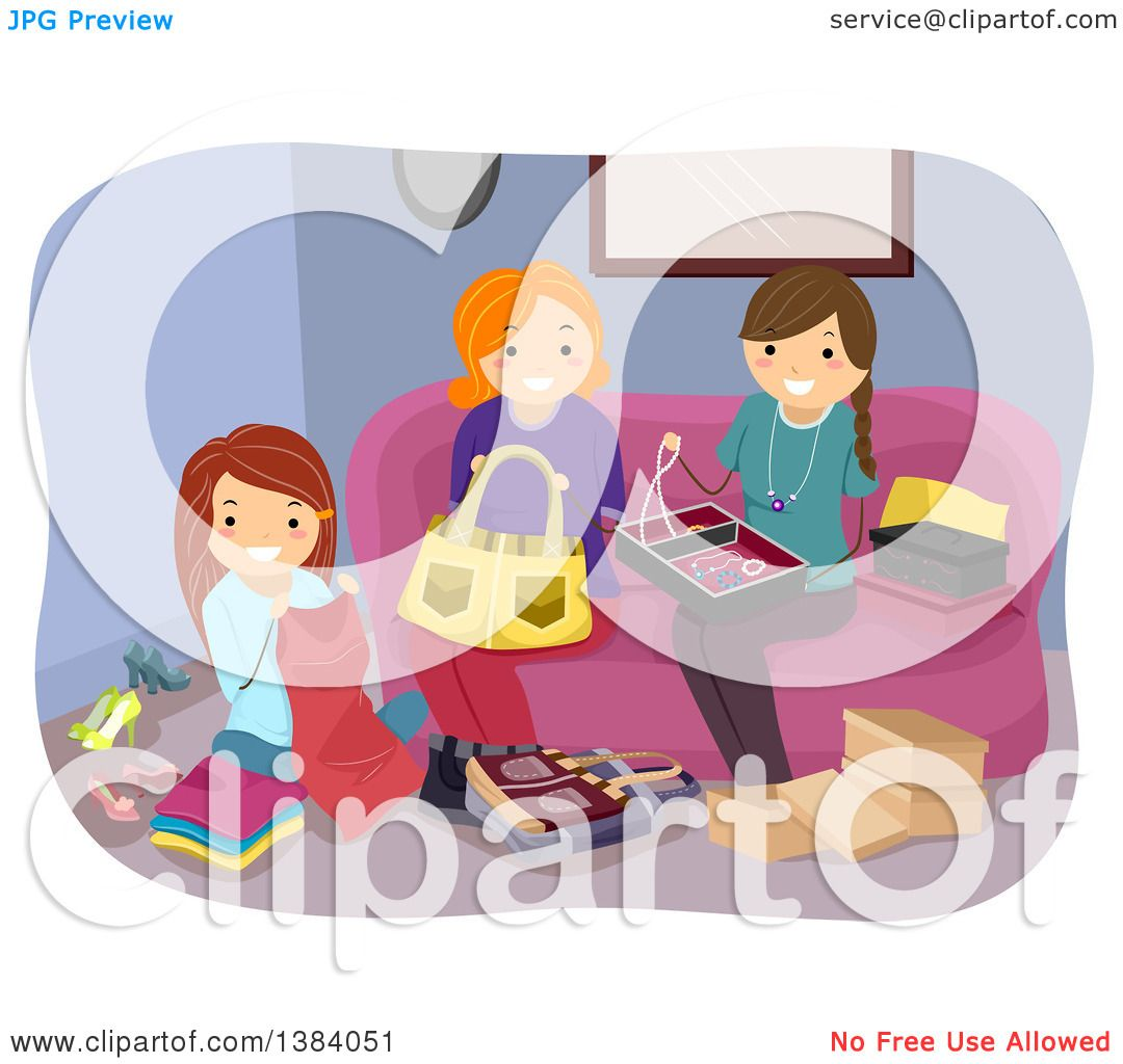 Clipart Of A Group White Women Working On Different Crafts In Living Room