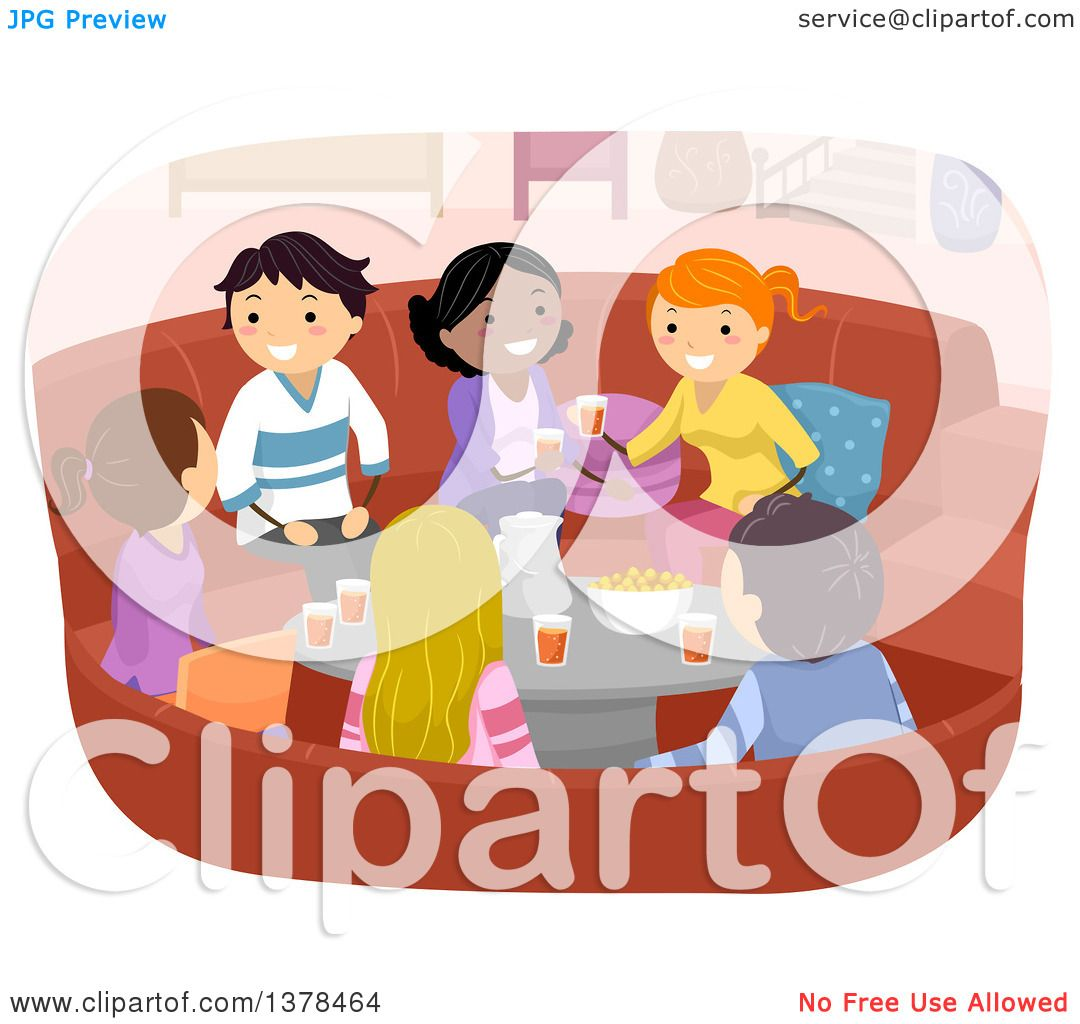 Clipart Of A Group Young Adults Talking And Sharing Snacks Beverages In Living Room