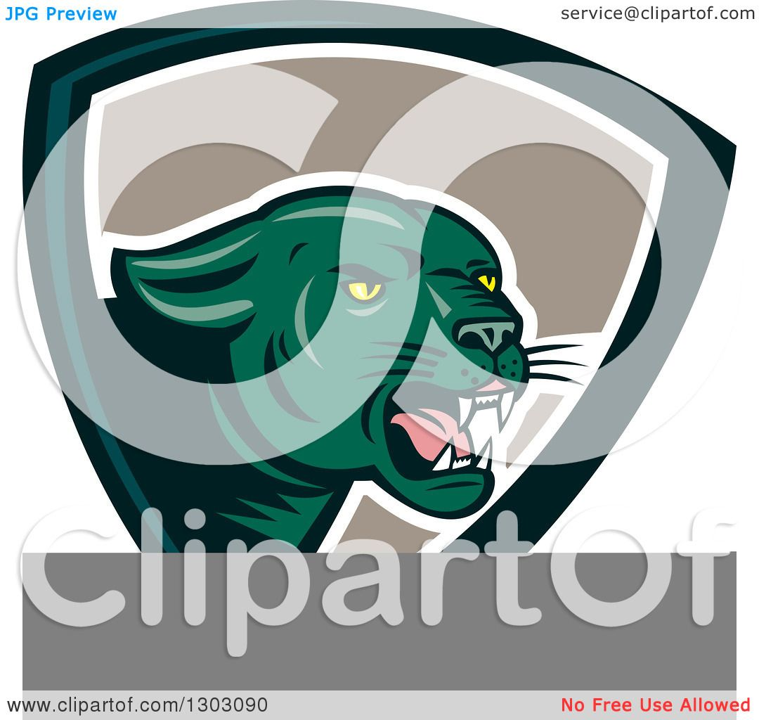 Black Panther Growling Royalty Free Stock Image: Clipart Of A Growling Green Black Panther Cat In A Shield