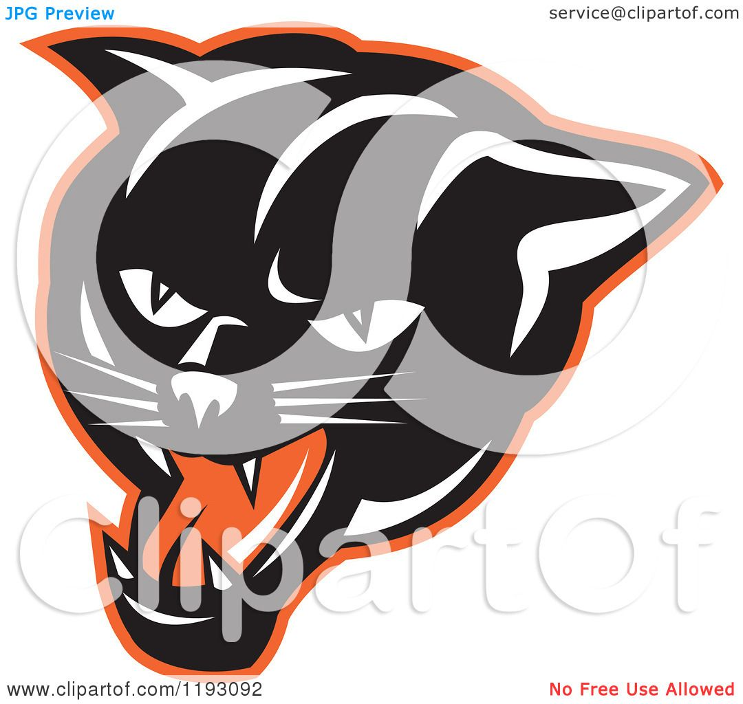 Black Panther Growling Royalty Free Stock Image: Clipart Of A Growling Panther Head