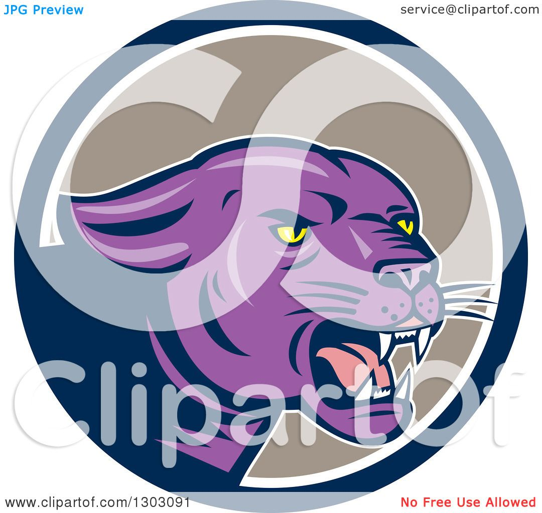 Black Panther Growling Royalty Free Stock Image: Clipart Of A Growling Purple Black Panther Cat In A Blue