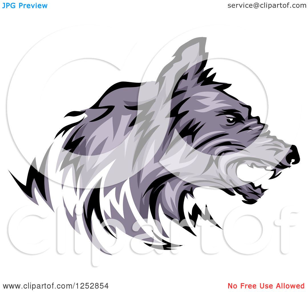 Clipart Of A Growling Wolf Head In Profile Royalty Free Vector Illustration  By Bnp Design Studio