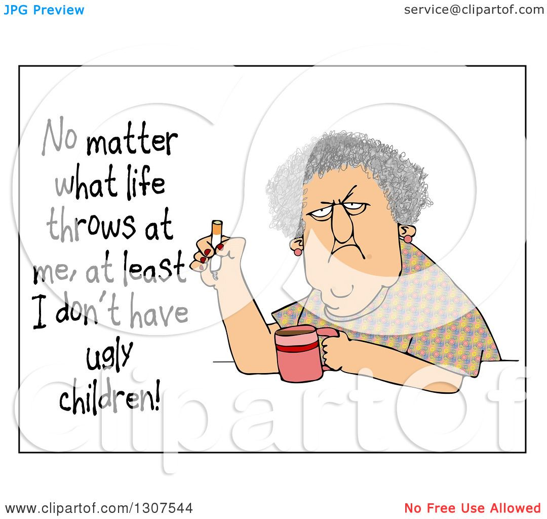 Clipart Of A Grumpy Old Woman Smoking A Cigarette Over