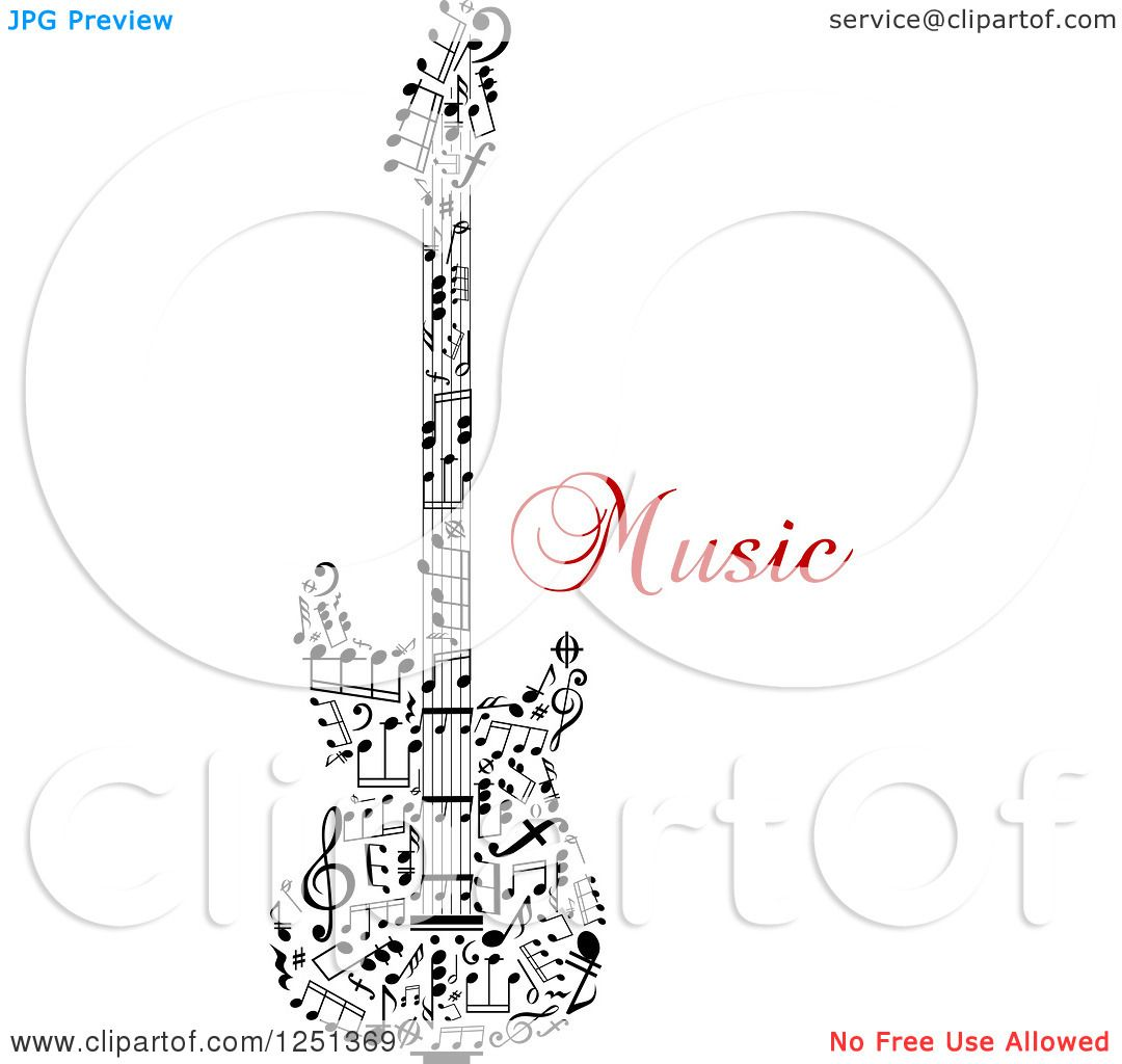 Clipart of a Guitar Made of Notes with Music Text - Royalty Free ...