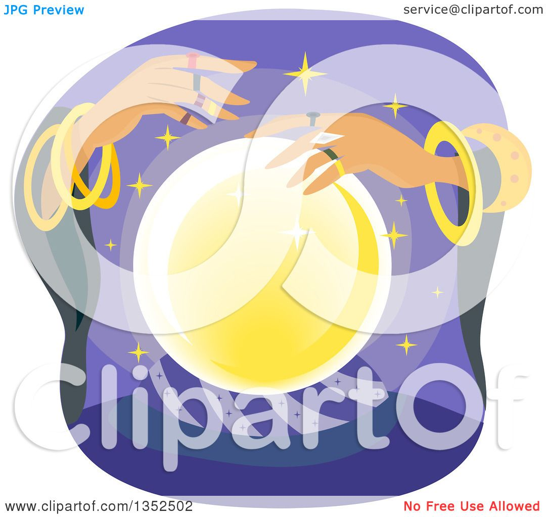Clipart of a Gypsy Fortune Teller and a Crystal Ball - Royalty Free