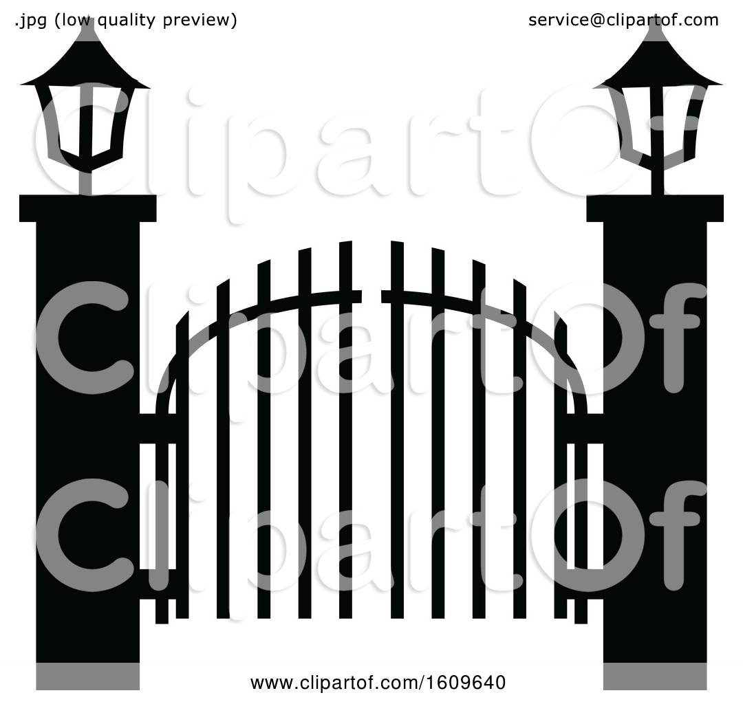 Cemetery Gate Black Silhouette Isolated On White Background Stock  Illustration - Illustration of october, isolated: 161760517