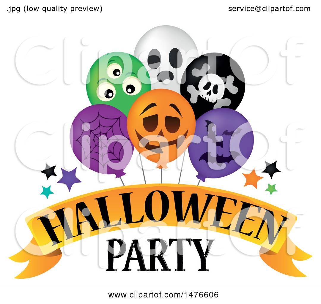 Clipart of a Halloween Party Design with Balloons ...