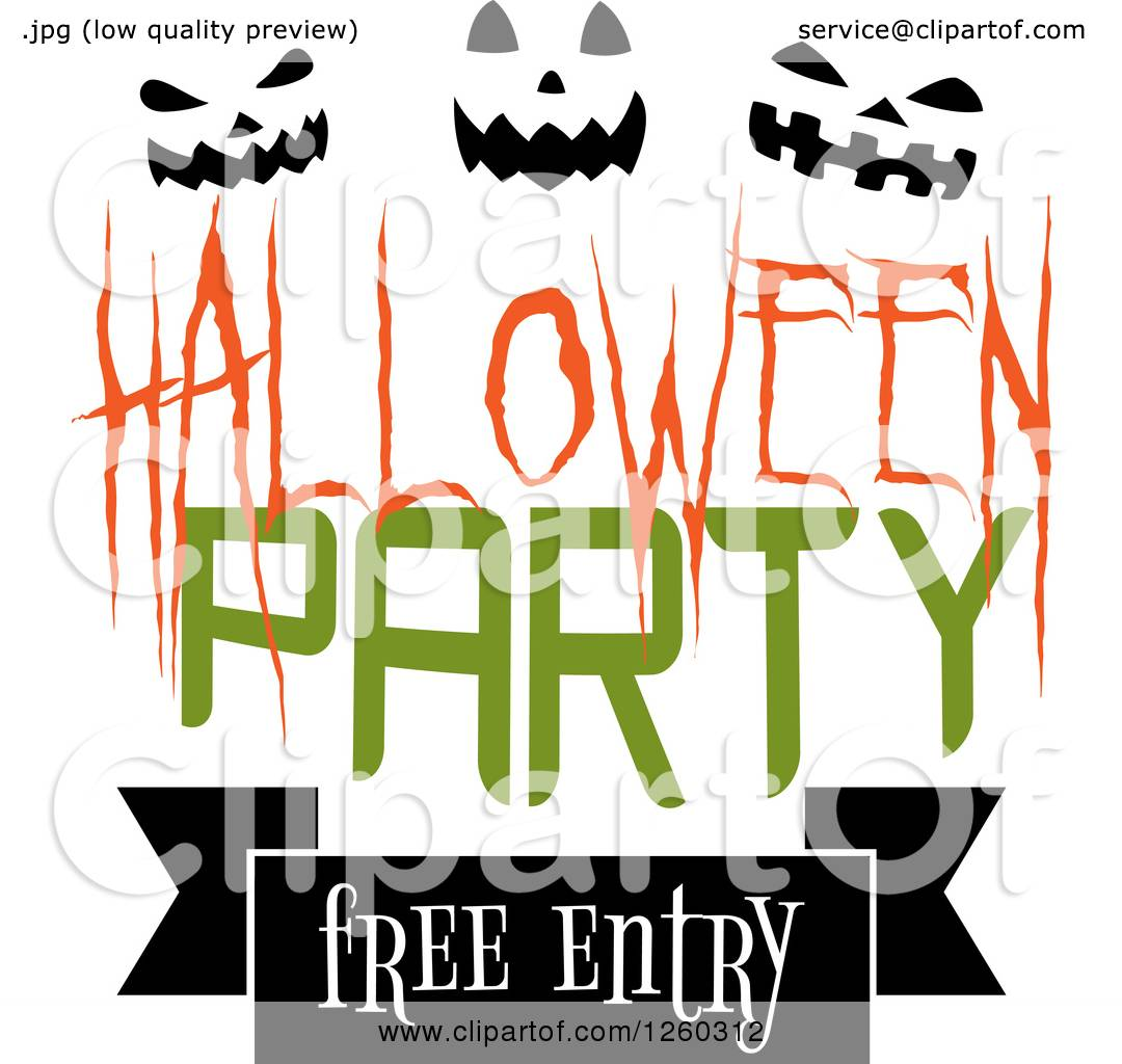 Clipart of a Halloween Party Free Entry Design with Pumpkin Faces ...