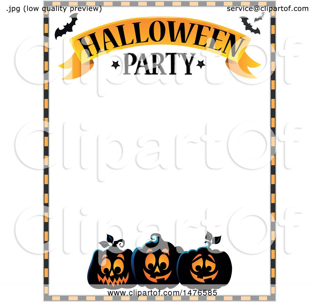 Clipart of a Halloween Party Invitation Border - Royalty ...