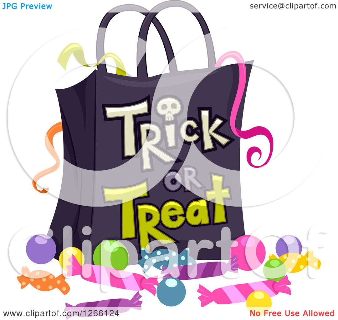 Clipart of a Halloween Trick or Treat Bag with Ribbons and ...