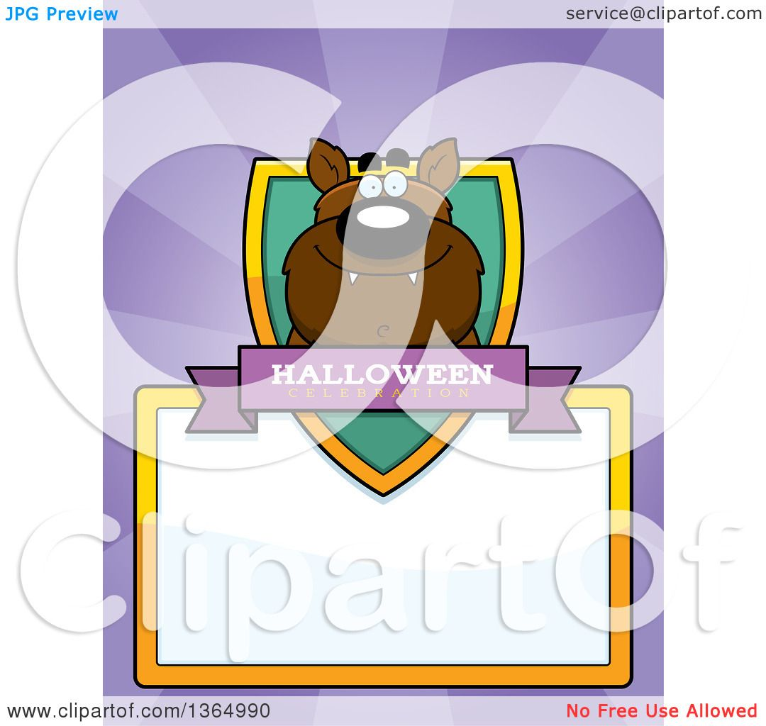 acf7d1697 Clipart of a Halloween Werewolf Shield over a Blank Sign and Rays - Royalty  Free Vector