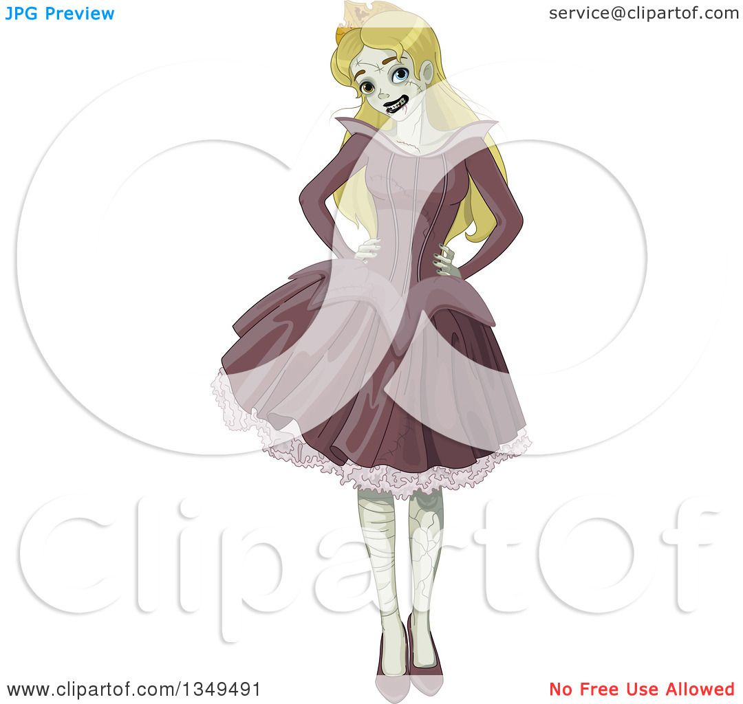 Clipart of a Halloween Zombie Sleeping Beauty Princess Posing with ...