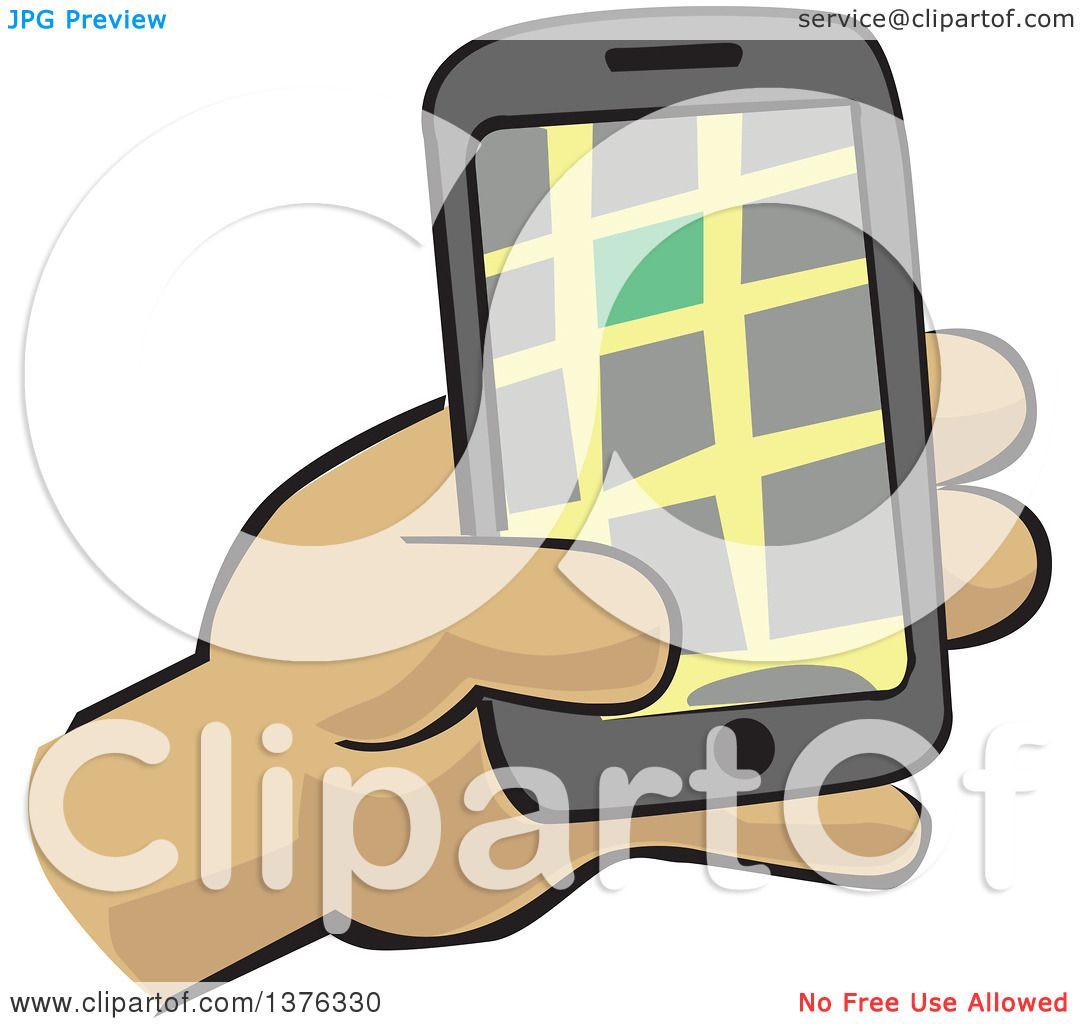 Clipart of a Hand Holding a Gps Device - Royalty Free ...