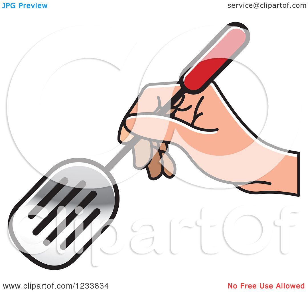 Clipart of a Hand Holding a Leak Shovel Spatula 2 - Royalty Free ...