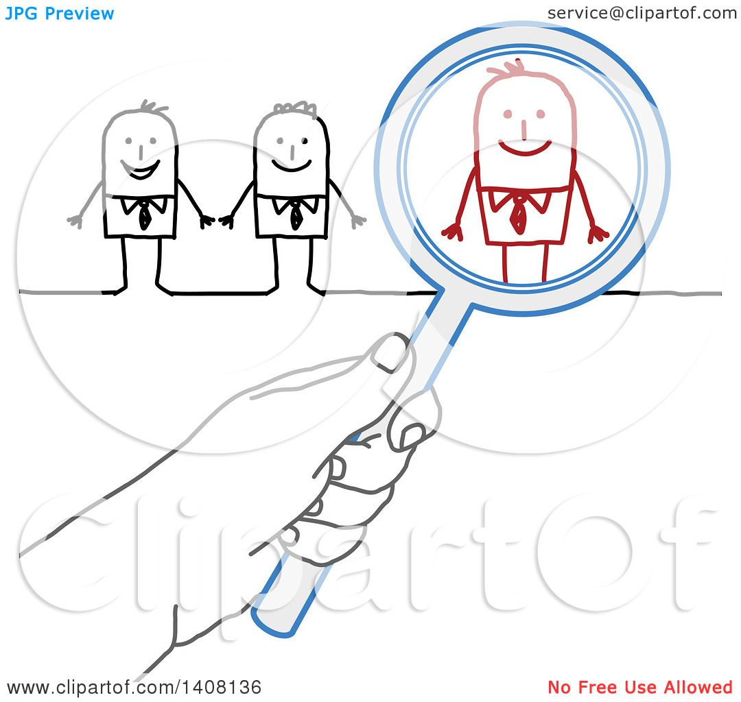 Clipart Of A Hand Holding A Magnifying Glass Over A Stick