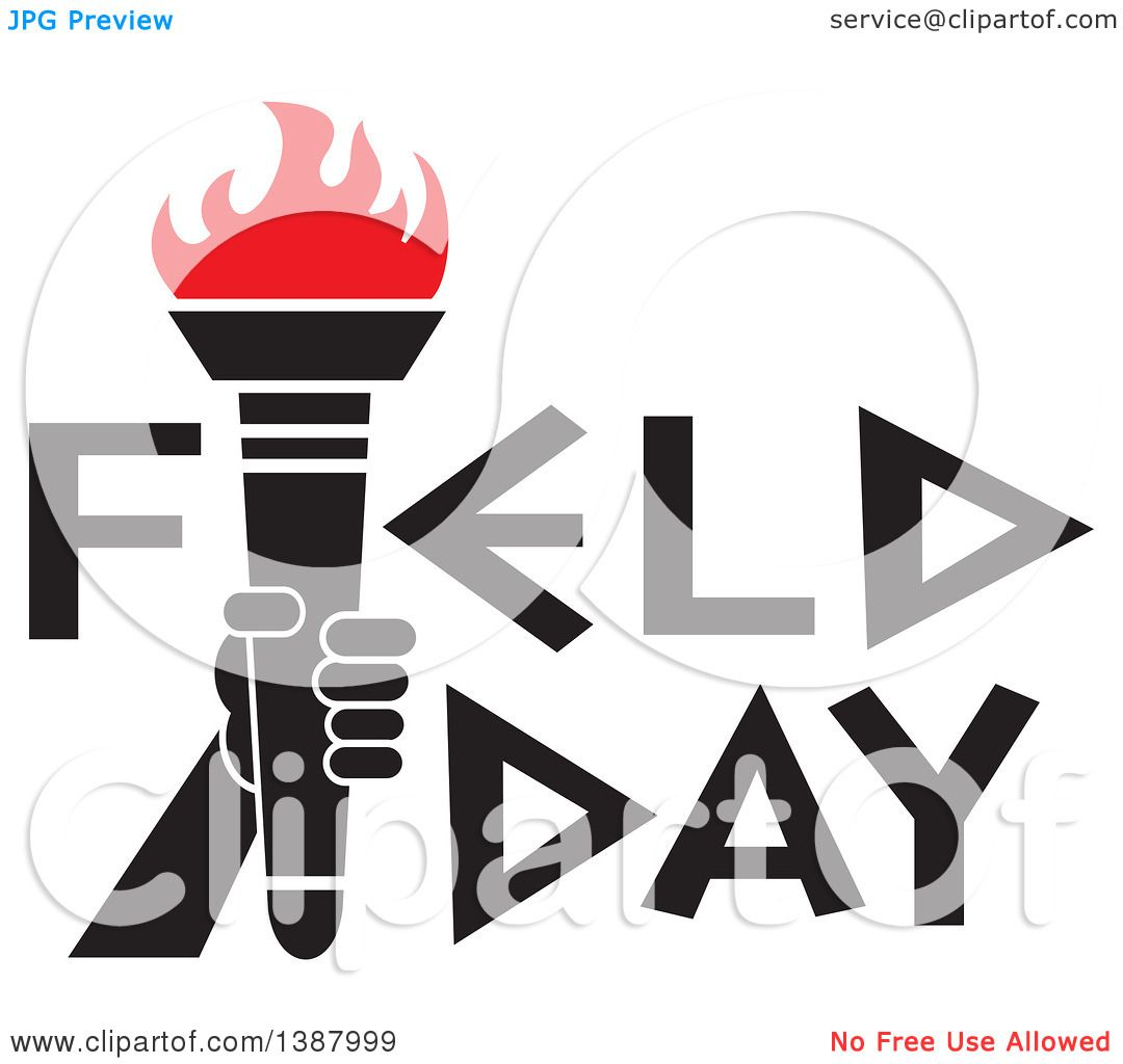 clipart of a hand holding an olympic torch with red flames in field rh clipartof com field day clipart free field day clip art free