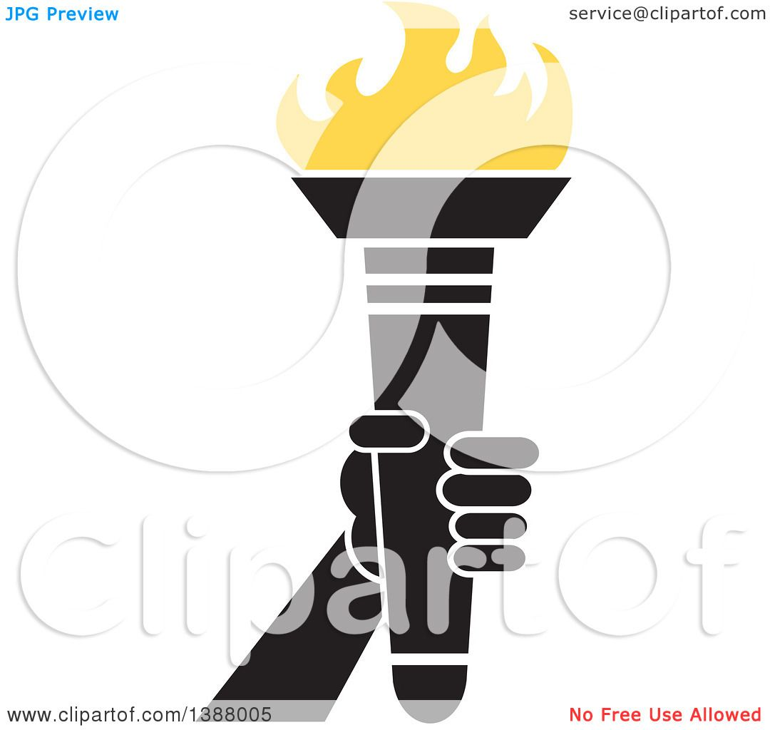 Clipart of a Hand Holding an Olympic Torch with Yellow Flames ...