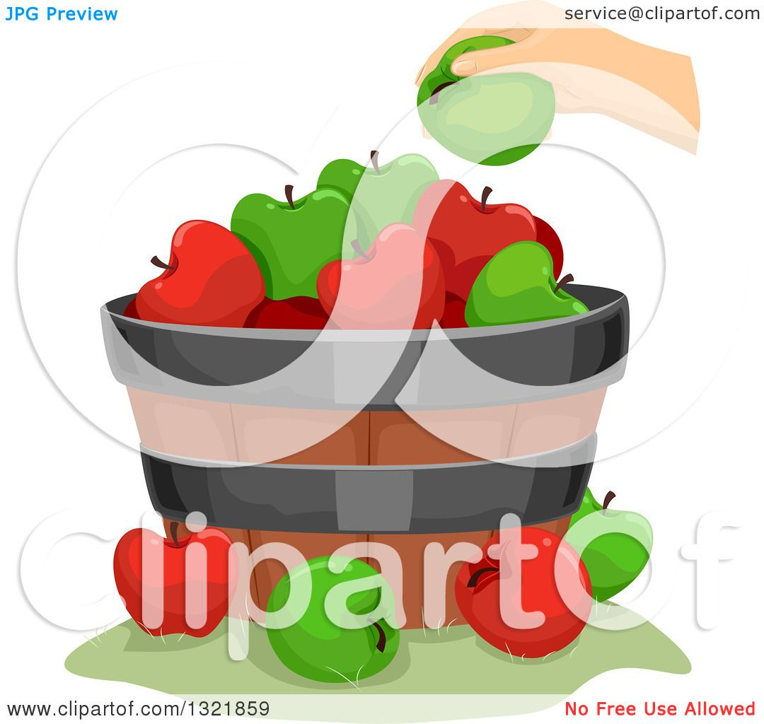 Clipart of a Hand Putting a Green Apple on a Barrel - Royalty Free Vector Illustration ...