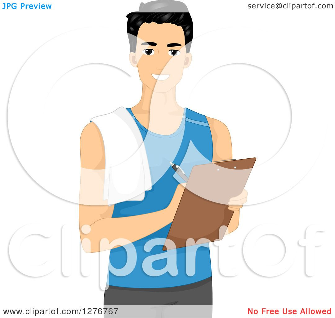 trainer personal male writing clipart illustration clipboard handsome young studio vector royalty bnp notes portfolio copyright