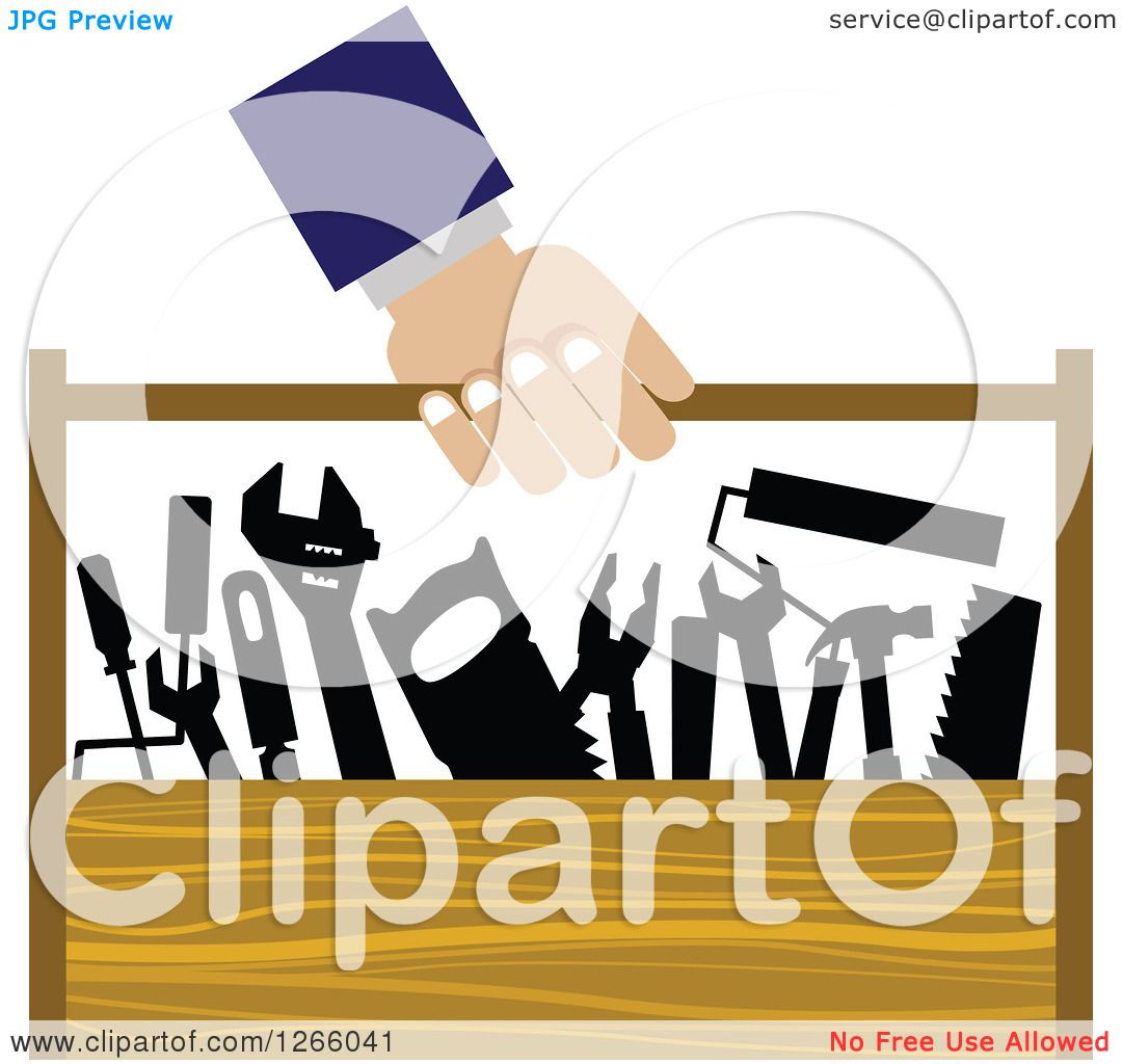 Clipart of a Handy Man Carrying a Wood Tool Box - Royalty Free ...