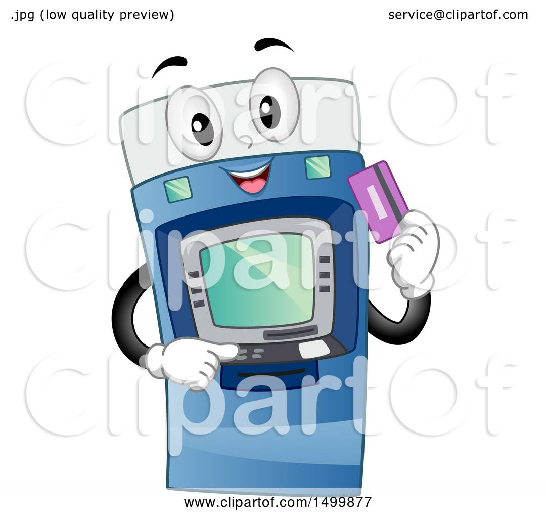 Clipart Of A Happy Atm Machine Character Holding A Debit