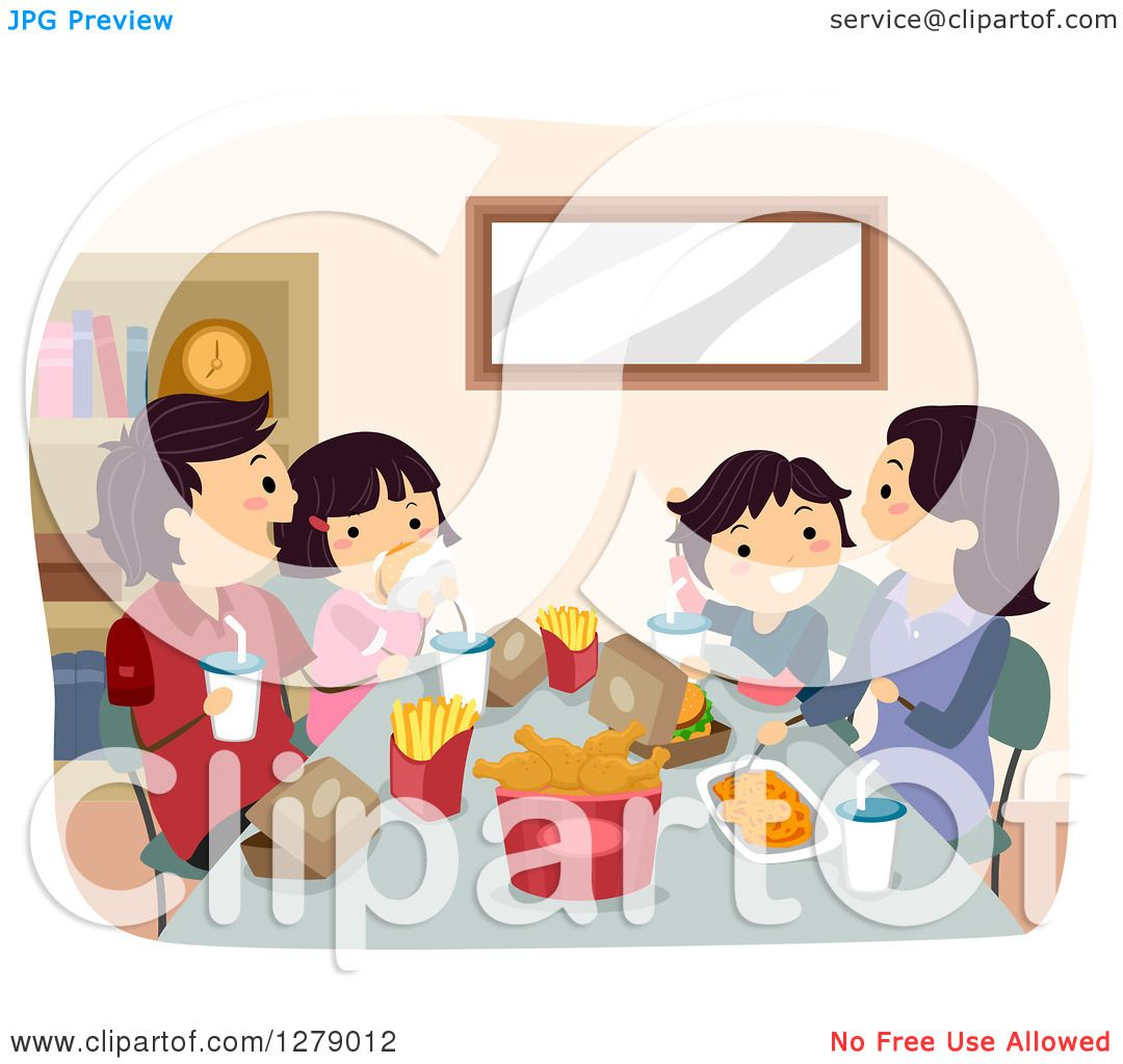 Clipart of a Happy Asian Family Eating a Fast Food Dinner ...