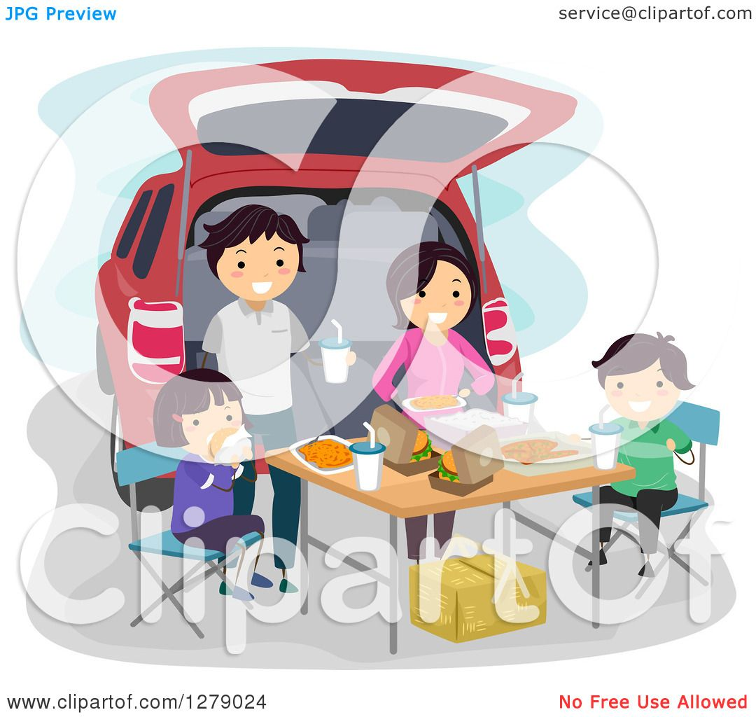 Clipart of a Happy Asian Family Having a Picnic at the ...