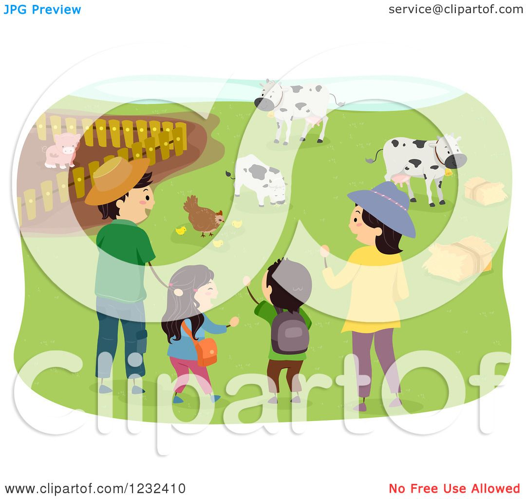 Clipart of a Happy Asian Family Visiting a Farm - Royalty ...