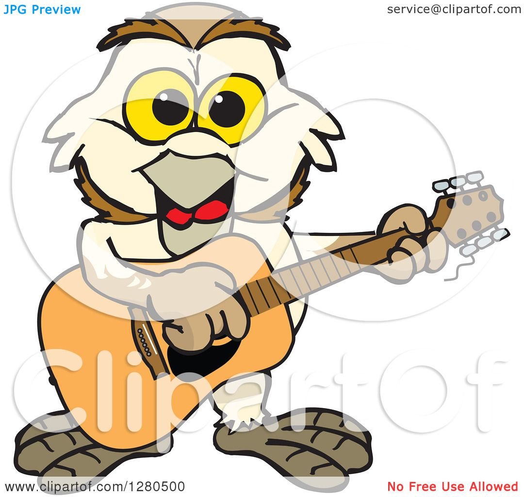 clipart of a happy barn owl musician playing a guitar royalty free rh clipartof com Camping Clip Art Camping Clip Art