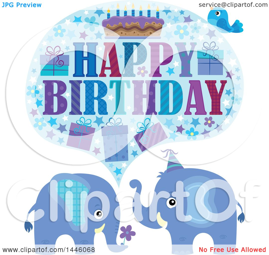 Clipart Of A Happy Birthday Greeting And Bird Over Blue Elephants