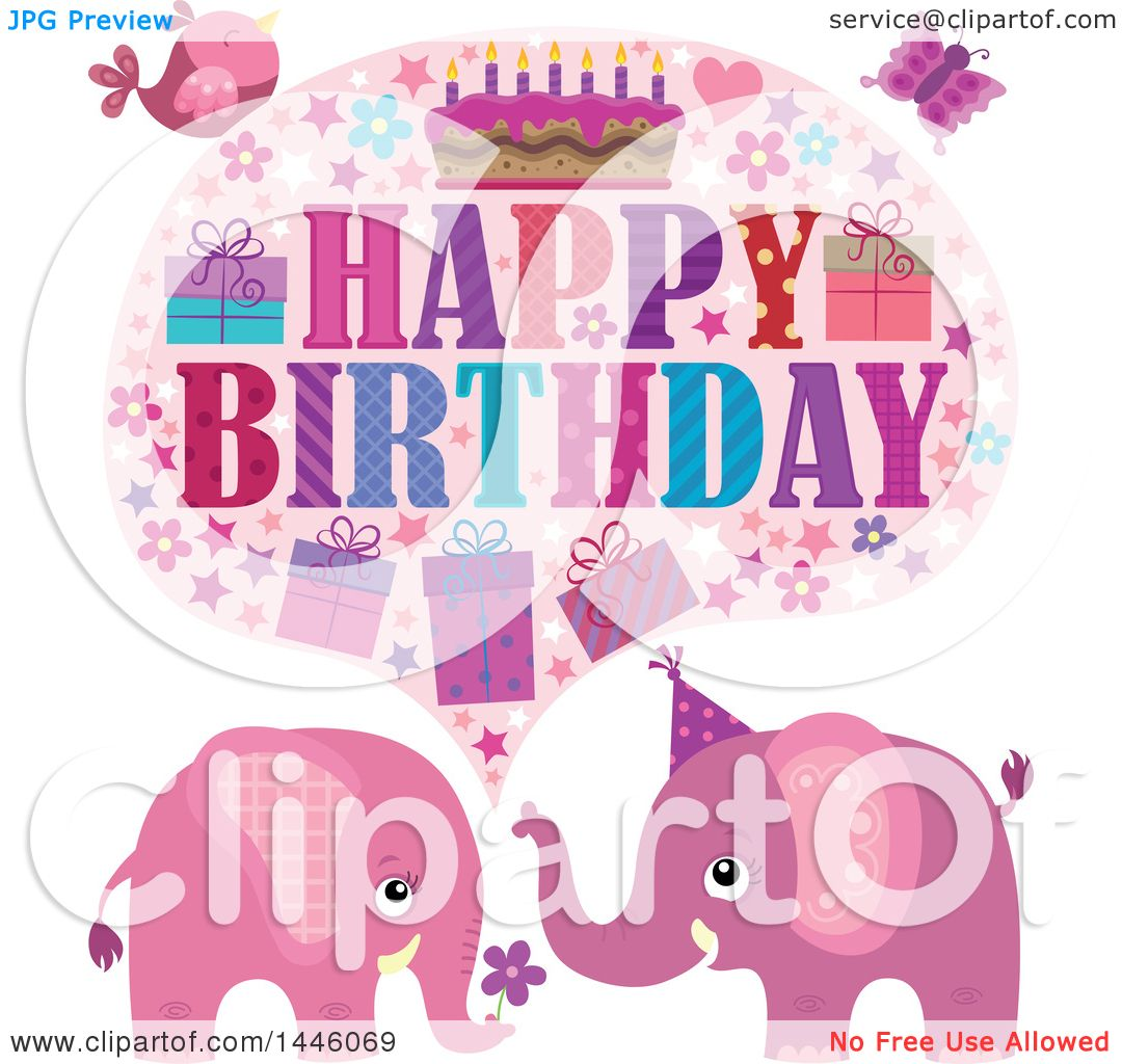 Clipart of a Happy Birthday Greeting with a Bird ...